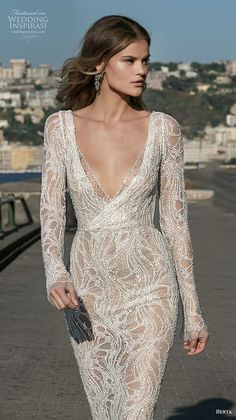 Dream Wedding Dresses Color Schemes berta fall 2020 bridal long sleeves v neck ful embellishment elegant sexy glamorous fit and flare wedding dress backless low back sweep train zv -- Berta Fall 2020 Wedding Dresses Wedding Night Dress, Amazing Wedding Dress, Fit And Flare Wedding Dress, Black Wedding Dresses, Bridal Dresses, Wedding Gowns, Ivory Wedding, Dresses Uk, Backless Wedding