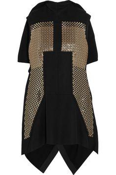 Black wool-blend Concealed snap fastenings through back wool, nylon;  lining: cupro Dry clean. Rick Owens