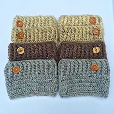 These Boot Cuffs are worked in one piece from top down. They are very easy and work up rather quickly, a pair could be easily completed in one day. Simple pattern makes it easy to adjust size by just adding or subtracting rows. Different hook sizes used for shaping instead of increases and decreases. All Patterns include permission to sell finished items as long as credit is given to the designer.