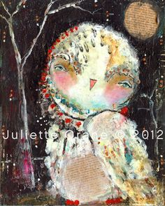 Whimsical Owl Art - Sweet Remembering- inch Print of a Reproduction of the Original Mixed Media Painting by Juliette Crane Mixed Media Painting, Mixed Media Art, Animal Painter, Street Art, Whimsical Owl, Owl Art, Bird Art, Animal Quilts, Colorful Paintings