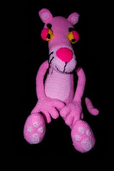 Pink Panther pattern by Erin Scull Pink Panter, Gliders, Soccer Ball, Yoshi, Panther, Hello Kitty, Toys, Crochet, Creative