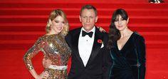 Daniel Craig, Mónica Bellucci y Lea Sydoux en la premiere de Spectre