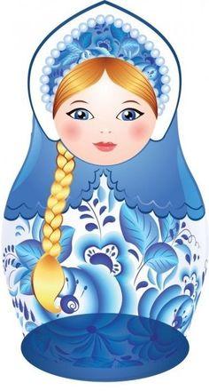 Matryoshka (Russian nesting doll) with a long plait. Vector clip art. #folk #art #matryoshka