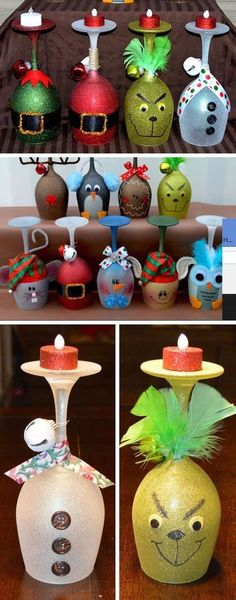 Christmas Wine Glass Candle Holders Click Pic for 22 DIY Glass Craft Ideas for the Home Easy Crafts to Make and Sell Kids Crafts, Easy Crafts To Make, Easy Christmas Crafts, Simple Christmas, Christmas Projects, Christmas Decorations, Christmas Ornaments, Xmas Crafts To Sell, Christmas Ideas
