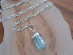 Aquamarine Point Pendant & Sterling Silver by MalieCreations