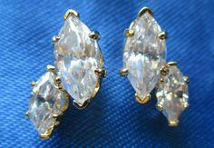 #Vintage #Marquise cubic zirconia goldtone Stud  #Earrings CZ April #Marquis   #Vintage #Stud