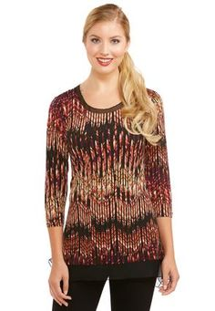 44ab70f488577 Cato Fashions Abstract Chevron Sharkbite Top-Plus  CatoFashions Plus Size  Tops
