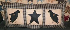UNSTUFFED Primitive Pillow Crow Star Country Large Bench or Bed Decoration Long #wvluckygirl