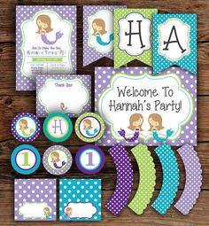 Süße Meerjungfrau Party Paket von MaryNDesigns auf Etsy