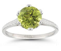 Vintage Leaf Peridot Ring in 14K White Gold
