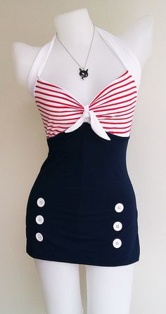 Swimsuits and nautical details. Now all you need is a sailor. Vtg Bettie Women Swimsuit in Navy Blue Polka Retro Vintage Sailor Women Swimwear One Piece New Trend Fashion, Moda Fashion, 1950s Fashion, Vintage Fashion, Womens Fashion, Petite Fashion, Curvy Fashion, Fashion Bloggers, Fall Fashion