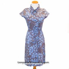 Fair Trade Batik Shirt Dress Hydrangea Slate - Tango Zulu