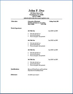 Simple Job Resume Template Basic Resume Outline Sample  Httpwwwresumecareerbasic