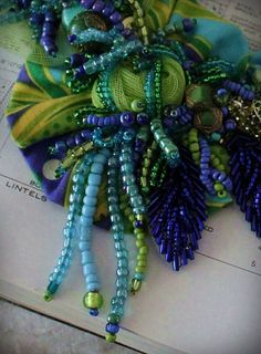 BELLA DONNA Beaded Textile Mixed Media Statement by carlafoxdesign