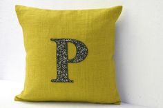 Yellow burlap pillow with Customized Sequin Monogram embroidered by AmoreBeaute