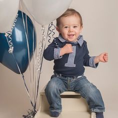 Cake Smash Outfit Boys - Baby Boy First Birthday Outfit - First Birthday Onesie…