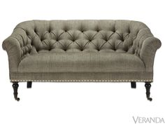Like all of their upholstered pieces, Arhaus's Tangier Settee is made in North Carolina. With a tufted back, sloping arms, and turned legs, this piece is a classic. And at 65 inches wide, it's just right for smaller rooms.   - Veranda.com