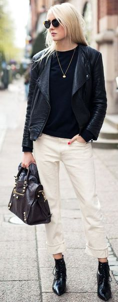 Ellen Claesson Black And White Cool Chic Fall Street Style Inspo