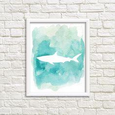 Blue Shark aquarelle Shark Silhouette Ocean Beach imprimable maison Decor mural imprimable Art Shark d