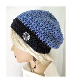 Two Tone Blue Boho Chic Slouchy Beanie hat Hand by FreeSpiritHats, $24.00
