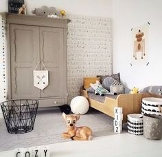 A very cute kid's room. Ferm Living Wire Basket, Design Letters cups are available online