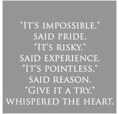 Today's Inspiration: Impossible, risky and pointless are the excuses the lazy use to not try something new.