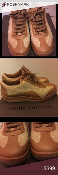LV Mini Lin Monogram Sneakers Get Pretty and Sassy with this fabulous Louis Vuitton Beige Monogram Mini Lin Sneakers in size 7-7.5. Beige Mini Lin fabric and Beige trim while rubber soles offer supreme comfort! 💯 % authentic. Excellent condition only used couple times as you can see.  Well taking care off and keep in a box. No scratch. Like new!!  Prefer thru P_Y_P_L!  Serial No: MA002 Louis Vuitton Shoes Sneakers