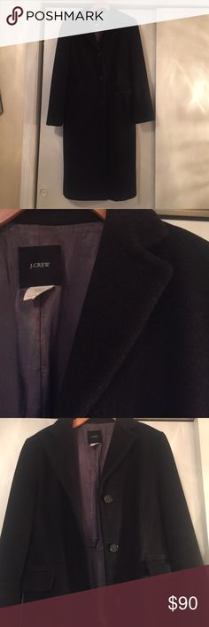 J. Crew charcoal wool/cashmere topcoat J.Crew topcoat.  Charcoal gray, 80% wool/20% cashmere, very smooth and soft.  Fully lined in gray poly satin, 3 buttons, 2 exterior pockets and one interior breast pocket, back vent, to/below knee length.  Great quality and easy style, very gently used and very clean. J. Crew Jackets & Coats