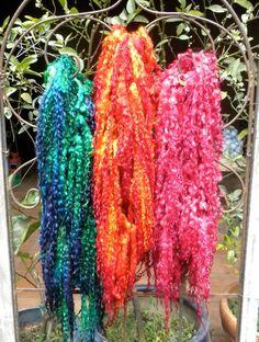 Tailspun Yarn from Namaste Farm Dyeing Yarn, Art Yarn, Nuno Felting, Knitting Ideas, Hand Spinning, Namaste, Yarns, Fiber Art, Crocheting