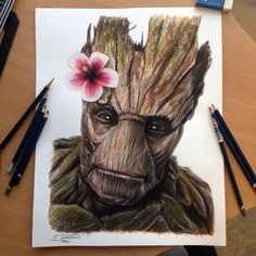 Groot Color Pencil Drawing by AtomiccircuS on deviantART