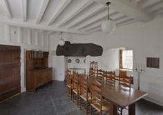 The dining room at Stoneywell, with the Barsnley table and Gimson chairs. ©National Trust/Chris Lacey