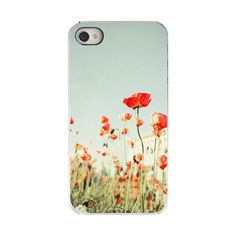 Floral Iphone 4 Case-IN STOCK, Plastic Case, Cute Iphone 4 Case, Poppy iPhone Case-Iphone 4 Case-Iphone 4s Case-for mom, for her under 50. $33.00, via Etsy.