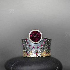 Margarita - Sunset: Garnet with sapphires and rubies