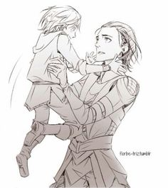Baby Thor and older Loki...by Florbe