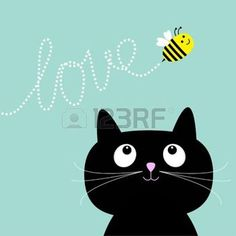 Cute cartoon cat. Bee dash line love Flat design style. Vector illustration photo