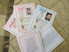 40 complete table ready rosary cards 4x6 printed on fine linen textured coverstock (heavy)double thick your childs photo or graphic with baptism date, name of church, godparents/parents names select any border color ANY COLOR select any mini rosary shown light pink, light blue, clear heart shaped beads or purple cube personalized prayer on reverse side there are 9 to choose from each enclosed in a crystal clear cello envelope for a very attractive presentation there is absolutely no…