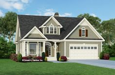 Plan of the Week Under 2500 sq ft - The Prynwood house plan 818!  2037 sq ft | 3 Beds | 2.5 Baths A stunning center dormer with palladian-style window, a cozy, gabled front porch, and a delightful bay window complement this home's charming facade. #wedesigndreams #cottagehouseplan Farmhouse Plans, Farmhouse Design, Farmhouse Style, Country Style House Plans, Craftsman Style House Plans, Master Suite, Affordable House Plans, Classic House Design, Ranch Style Homes