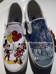 fe96bacaad9 SALE Little Mermaid or Mickey Minnie Mouse by seriouslysavage Custom  Painted Shoes