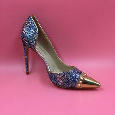 Glitter Sequins Pointed Toe Rivet Stilettos Pointed Toe Pumps Actual Photo Designer Shoes Women Luxury 2016 Size 7Heels