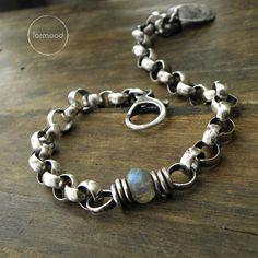 Sterling silver and labradorite - bracelet