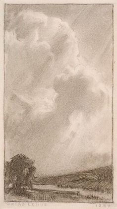 Clouds in the Light (Imaginations 1937 - Ozias Leduc Monochrome, Pencil, Clouds, Sky, Canvas, Gallery, Drawings, Artwork, Painting