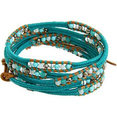 Chan Luu - Graduated Turquoise Mix Wrap Bracelet with Blue Cotton Cord and Henna Leather