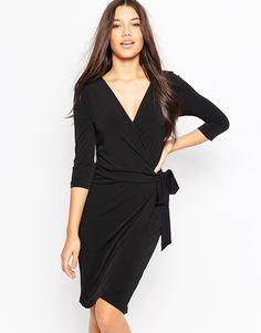 Ichi 3/4 Sleeve Wrap Front Dress