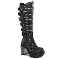 Knee high platform boots with pyramid studded straps and Brushed chrome ABS heel. These have adjustable velcro straps and zipper trim detail