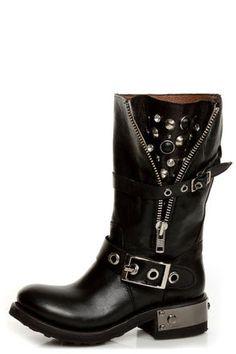 Zigi Girl Tangle Black Leather Heavy Metal Motorcycle Boots - $197.00