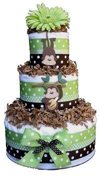Monkey Around in Green Baby Shower Diaper Cake