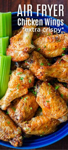 Air Fryer Chicken Wings with crisp salty skin, perfectly seasoned with garlic and lemon pepper. Air fried chicken wings cook so fast with no marinating! wings in air fryer Air Fryer Chicken Wings Air Fryer Recipes Chicken Wings, Air Fry Chicken Wings, Air Fryer Oven Recipes, Air Frier Recipes, Air Fryer Dinner Recipes, Air Fryer Fried Chicken, Marinated Chicken Wings, Cooking Chicken Wings, Chicken Wings Airfryer
