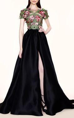 Floral Applique and Silk Faille Gown by Marchesa for Preorder on Moda Operandi