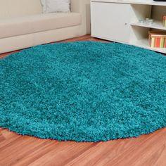 Shaggy Hochflor Teppich Fluffy türkis rund, Größe Auswählen:250 cm rund