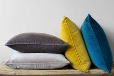 Velvet cushions #mustard #ochre #grey #teal